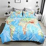 3 piezas Mapa del mundo Funda nórdica con 2 fundas de almohada Juego de cama impreso Ocean Blue y Yellow Land con cierre de cremallera Funda nórdica antialérgica para niños King Size 220 * 230cm