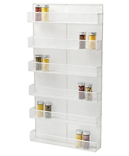 TQVAI 6 Tier Wall Mounted Spice Rack Organizer - Made of Sturdy Punching Net, White