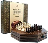 Conjunto de ajedrez El ajedrez de ajedrez de ajedrez del ajedrez octagonal conjuntos de ajedrez de gama alta con cajones para almacenar piezas de ajedrez juego de ajedrez profesional (Tamaño: 32.5 cm)