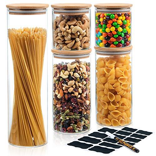 Deco Haus Set 5 Tarros de Cristal Reutilizables Tapa Bambú - Herméticos, Aptos Lavavajillas y Microondas - Contenedor para Galletas, Pasta, Comida Seca, Cereales - Alto 30cm/2x20cm/2x10cm Diámetro 9cm