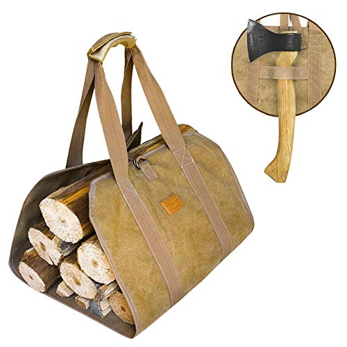 2019 NEW DESGIN Canvas Firewood Log Carrier Fireplace Canvas Log Carrier Totes with Handles for Camping Fireplace Wood Stove Accessories Padded Strap Easy Grip and Strap Belt DustProof Waterproof