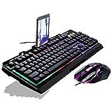 Lorenlli® Fit G700 Juego Luminoso con Cable USB Ratón y Teclado Traje con Rainbow Backlight LED Luces Mecánico Teclado Gaming Ratón