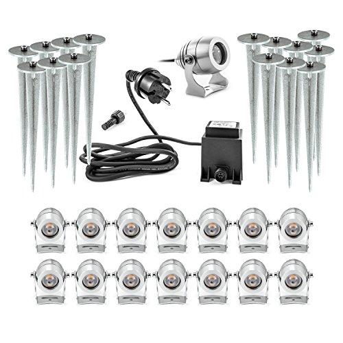 Mega Set 15 LED Gartenstrahler mit sicherem 12V Niedervolt System 12 Volt mit Kabel Stecker Erdspieß Premium Set aus Aluminium CNC gefräst warmweiss