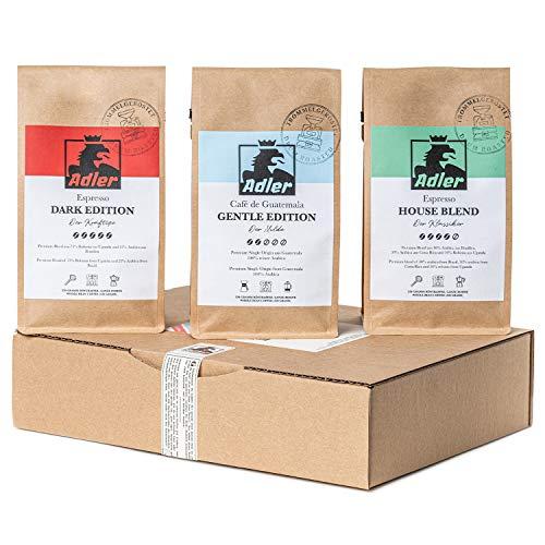 Adler Kaffee Probierpaket – 3 x 320g Premium Kaffee und Espresso – Das Geschenk-Set für Kaffeekenner – ganze Bohnen