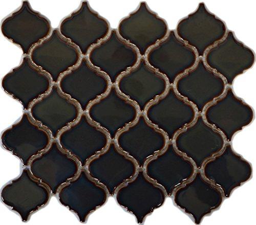 Retro Vintage Mosaik Fliese Keramik Florentiner altgrün glänzend für WAND BAD WC DUSCHE KÜCHE FLIESENSPIEGEL THEKENVERKLEIDUNG BADEWANNENVERKLEIDUNG WB13-0508