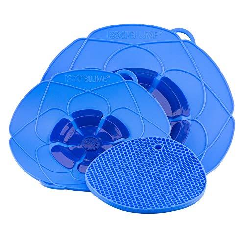 Kochblume Profi-Set für Töpfe von 14 bis 28 cm mit Bionic Multipad als Set in der pinken Box | Silikon Überkochschutz und Untersetzer/Topflappen (hellblau)