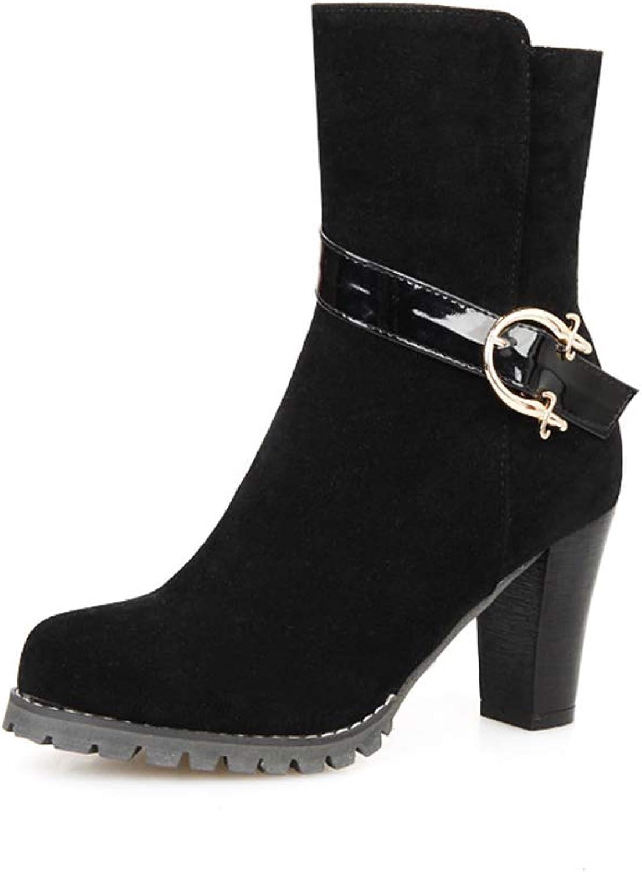 Damenstiefeletten, Herbst Winter Neue Dicke Ferse High Heel Wildleder Mode Stiefel Damen Mid Heel Stiefeletten (Farbe   B, Größe   37)  | Neueste Technologie