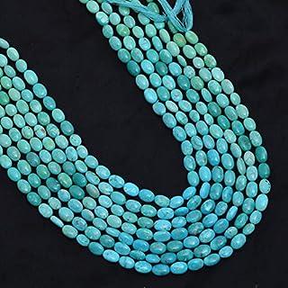 AAA piedra preciosa turquesa natural 6x9 mm cuentas ovaladas lisas | Hilo de 10 pulgadas | Cuentas ovaladas de piedras pre...