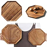 Set of 2 Acacia Wooden Serving Tray Vegetable Fruit Platter Wood Square Dessert Plates Foo...