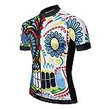 """JPOJPO Squadra Bicicletta Uomini Camicie Sportive Confortevole Ciclismo Jersey giovanile Outdoor Mountain Bike Usura, Uomo, CD5101, Teschio colorato, L(Ht69-71"""" Wt143-169lbs)"""