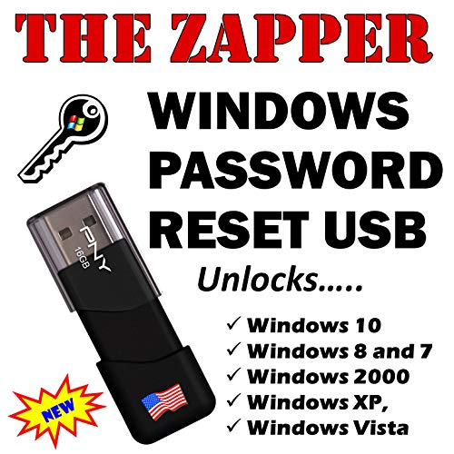 Windows Password Reset Recovery boot USB for Microsoft Windows 10, 8, 7, Vista, XP. Works on Windows Computers Laptops. Forgot Windows Password? Unlock and Restore Access to Your PC! New 2020 Version!