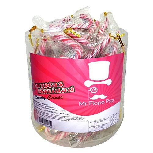 Tarro De Bastones De Caramelos De Navidad Rayas Rojas Y Blancas 7 Grs-120 Unidades