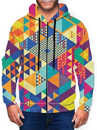 Geometrische abstracte elementen heren hoodies 3D gedrukte jas rits Sweatshirt