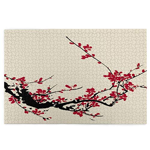 KIMDFACE Puzzles 1000 Piece Puzzle for Kids Adult Challenging Game,Cherry Flower Blossom Sakura Tree Branch Soft Pastel Watercolor Asian Japanese Painting Floral