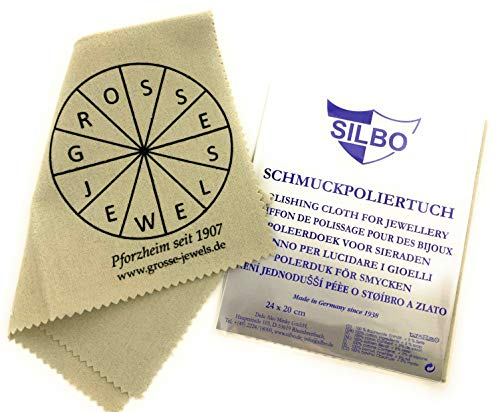 Graues Poliertuch für Schmuck, Uhren, Münzen/Pflegetuch für alle rhodinierten Oberflächen - Schmuckputztuch made in Germany