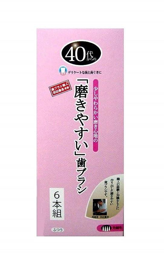 頭痛ラケットハンバーガー歯ブラシ職人 田辺重吉考案 40代からの磨きやすい歯ブラシ 先細 6本組