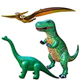 Jet Creations Inflatable T-Rex Brachiosaurus Pteranodon Jurassic Era Dinosaur 3 Pack. Ideal for Party Decorations Supplies Education. Size 37+ inch. JC-D0301