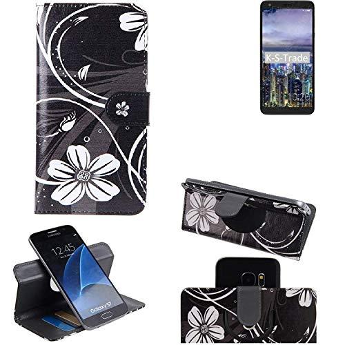 K-S-Trade® Schutzhülle Für Sharp B10 Hülle 360° Wallet Case Schutz Hülle ''Flowers'' Smartphone Flip Cover Flipstyle Tasche Handyhülle Schwarz-weiß 1x