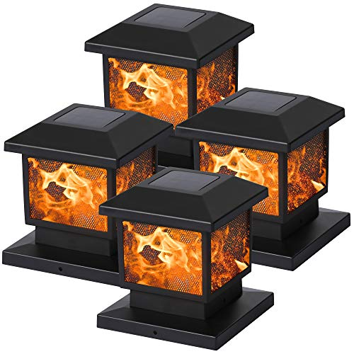 MAGGIFT 4 Pack Solar Flame Post Lights, Outdoor Brightness 72 SMD LEDs Flickering Flame Solar Powered Cap Light for Halloween Christmas, Fits 4x4, 5x5 or 6x6 Wooden Posts, for Yard Fence Deck or Patio