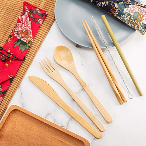 Boao 2 Sets of Reusable Bamboo Utensils Travel Cutlery Set with Case, Forks Knives Chopsticks Spoons Straws and Brushes, Camping Flatware Set (Pattern 3)
