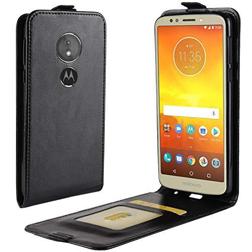 HualuBro Moto G6 Play Hülle, Premium PU Leder Leather HandyHülle Tasche Schutzhülle Flip Hülle Cover für Motorola Moto G6 Play Smartphone (Schwarz)