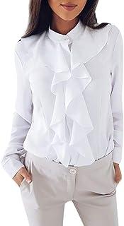 Lazzboy Damen Langarmshirt Mode Einfarbig Langarm Shirt Button Down Elegant Tops Volant Bluse