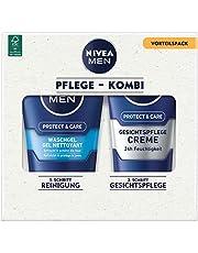 NIVEA Men Face Duo Pack Gezichtsverzorgingsset met Nivea Men Protect & Care wasgel (100 ml) en Nivea Men Protect & Care gezichtsverzorging crème (75 ml), verzorgingsset voor mannen
