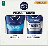 NIVEA Men Face Duo Pack - Juego de cuidado facial con gel Nivea Men Protect & Care (100 ml) y crema Nivea Men Protect & Care (75 ml), set de cuidado para hombres