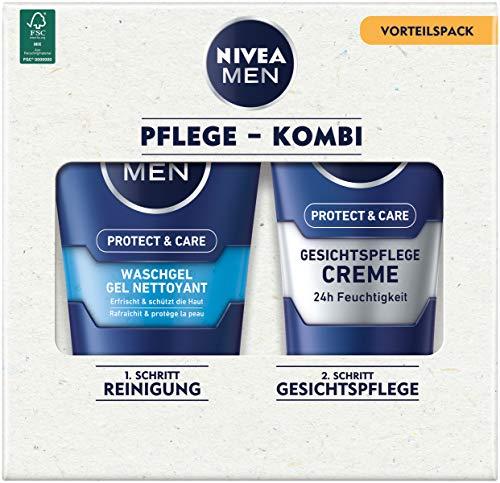 NIVEA Men Face Duo Pack - Juego de cuidado facial con gel Nivea Men Protect & Care (100 ml) y crema Nivea Men Protect & Care (75 ml), set de cuidado para hombres