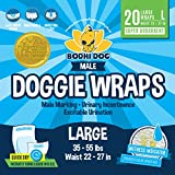 Disposable Dog Male Wraps | 20 Premium Quality Adjustable Pet Diapers with Moisture Control and Wetness Indicator | 20 Count Large Size