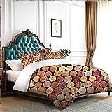 Hiiiman Juego de ropa de cama Copas de vino tinto y blanco servido con uvas catas gourmet francesas con 2 fundas de almohada