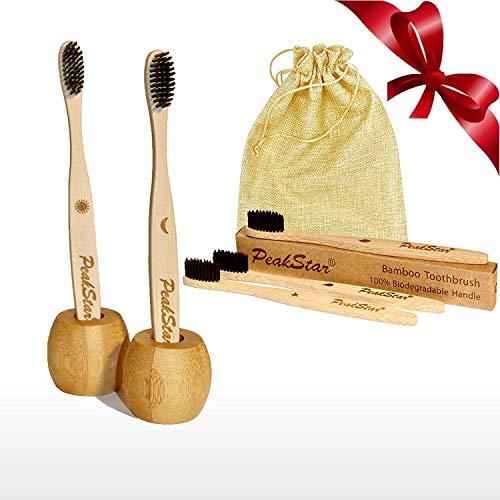 5x Cepillo Dientes Bambu PREMIUM PeakStar | 100% Biodegradable sin BPA | 2 Holders Homenaje + Paquete de Viaje | Cepillos con Finas Cerdas Suaves | â™» Eco Vegan Friendly Organic Bamboo Toothbrush