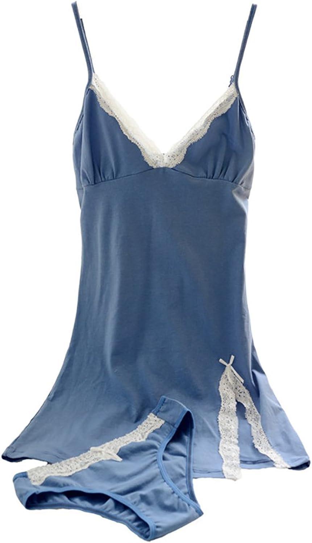 bluee Sexy Pajamas Slim Lace pure Cotton Sleeping Skirt Twopiece women