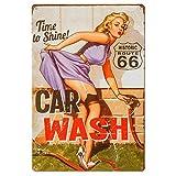 dingleiever-Vintage Tin Sign for Garage Retro Decor Metal Poster Pinup Girl Plaque Full Service Car Wash