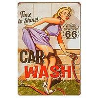 dingleiever-ヴィンテージ ブリキ看板 ガレージ用 レトロ装飾 メタルポスター ピンナップ ガール 飾り板 フルサービス 洗車