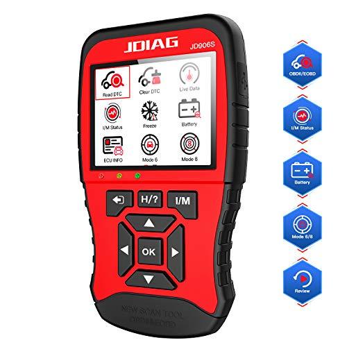 Scanner OBD2, Lettore codice errore motore JD906S, strumento di scansione diagnostica OBD II con definizione codice avanzata e stato batteria aggiornato, supporta la modalità 6 modalità 8