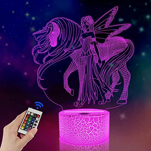 FULLOSUN Illusion-Nachtlicht 3D, Einhorn,LED-Tisch-Schreibtisch-Lampen, 16 Farben USB-Lade, die Schlafzimmer-Dekoration für Kinder Weihnachten Halloween-Geburtstagsgeschenk beleuchten