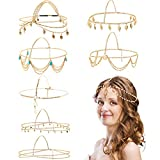 8 Pieces Gold Head Chain Jewelry Boho Headband Head Chain Coins Pearl Tassel Chain Hair Band Festival Prom Wedding Headpiece for Women and Girls (Style A)
