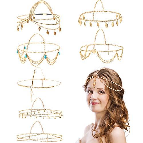 8 Stücke Gold Kopf Kette Schmuck Boho Stirnband Kopf Kette Münzen Perle Quaste Kette Haarband Festival Abschlussball Hochzeit Kopfschmuck für Frauen und Mädchen (Stil A)