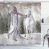 ABAKUHAUS Pferd Duschvorhang, Elf Holdng Mace & Pferd, mit 12 Ringe Set Wasserdicht Stielvoll Modern Farbfest & Schimmel Resistent, 175x220 cm, Kokosnuss & Sand