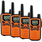 Walkie Talkies for Adults Long Range 4Pack 2-Way Radios Up to 5 Miles Range in Open Field 22 Channel FRS/GMRS VOX Scan LCD Display with LED Flashlight Ideal for Biking Hiking Camping(Orange)