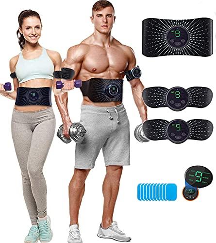 CHENAN Elettrostimolatore per Addominali, Elettrostimolatore Muscolare, Elettrostimolatore, Cinture tonificanti, Addome/Braccio/Gambe/Waist/Glutei Massaggi-Attrezzi