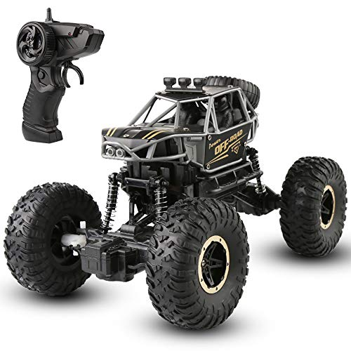 Ferngesteuertes Auto: 1:16 Maßstab RC Auto Funkfernsteuerung Elektro Geländewagen, 2.4 GHz Alles Gelände Buggy Auto Monstertruck Rock Crawler Spielzeug für Kinder Erwachsene (Schwarz)