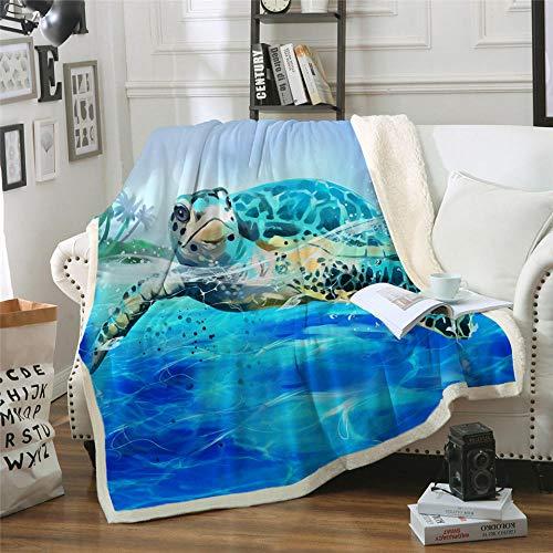 Xzfddn Turtles - Manta de sherpa para niños y adultos, de felpa suave, para sofá, color azul, verde marino