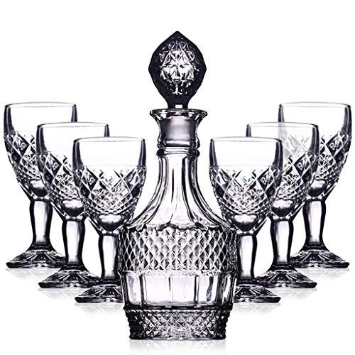 7 Pièces Ensemble Carafe Whisky Ensemble Cave Vin Clair Rétro Verre Cristal Gobelet Vin Rouge Avec Couvercle Bouteille Vin Pour Cadeau (Couleur : C)