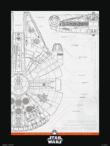 Erik Star Wars Episode IX - Millenium Falke Struktur, mehrfarbig, 30 x 40 cm