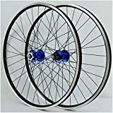 KZEE Bicycle Wheelset 26/27.5/29 Inch, V Brake Double Wall MTB DH19 Rim Hybrid Mountain Wheels for 7/8/9/10 Speed Wheels (Color : Blue, Size : 27.5 inch)