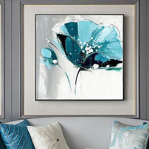 YuanMinglu Blumenölgemälde auf Leinwand großes hellblaues abstraktes Blumenbild Wohnzimmerwandplakat und drucken rahmenloses Gemälde60x60cm