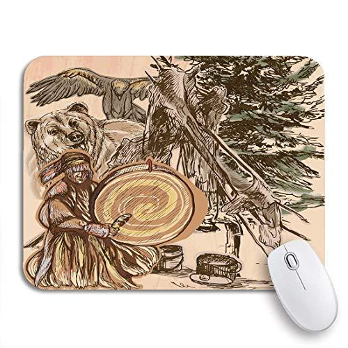 Gaming mouse pad schamane native man drum drummer sitzen im wald rutschfeste gummiunterlage mousepad für notebooks computer mausmatten