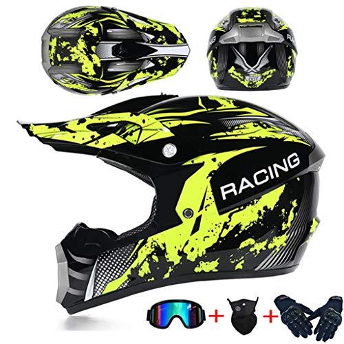 SHANREN Cross Casco De Moto Motocross Integral, 4pcs Juego de Casco de Moto + Gafas + Guantes de Motocicleta + Mascarilla, para Hombre Mujer, Apto para Adultos y niños